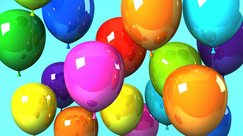 Colorful Balloons On Blue Background CG動画