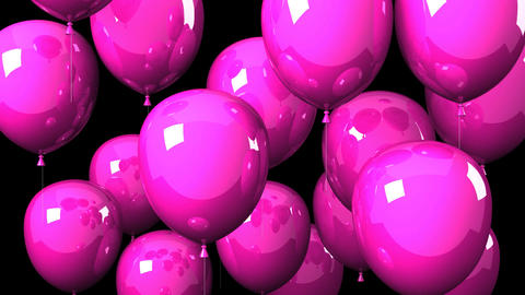 Pink Balloons On Black Background CG動画