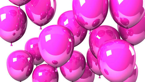 Pink Balloons On White Background Animation