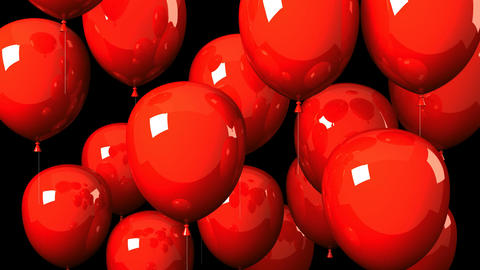 Red Balloons On Black Background Animation