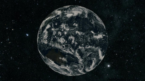 Rotation of glossy planet with glowing particles Footage