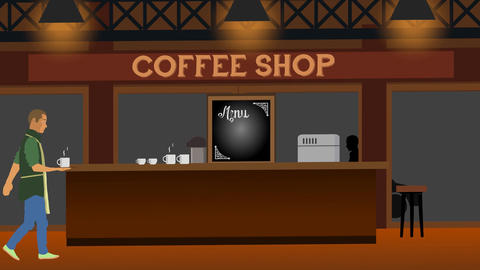Cafe Waiter Animation CG動画素材