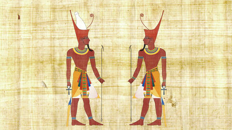 Lower Egypt Pharaoh and All Egypt Pharaoh on a Papyrus Background Live Action
