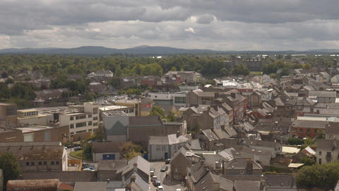Panorama of Kilkenny with Castle and cathedral, Ireland Footage