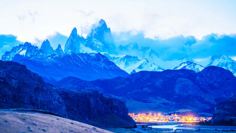 Time lapse of Fitz Roy at twilight Footage