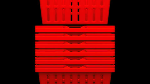 Closeup Of Red Shopping Baskets On Black Background Animation