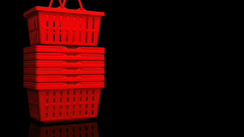 Red Shopping Baskets On Black Text Space Animation