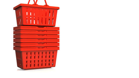 Red Shopping Baskets On White Text Space Animation