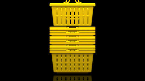 Yellow Shopping Baskets On Black Background Animation