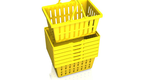 Top Of Yellow Shopping Baskets On White Background Animation