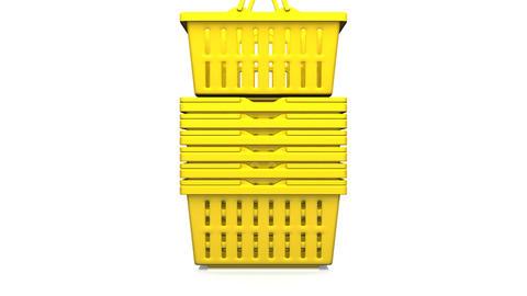 Yellow Shopping Baskets On White Background CG動画