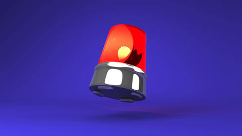 Jumping Red Warning Light On Blue Background CG動画
