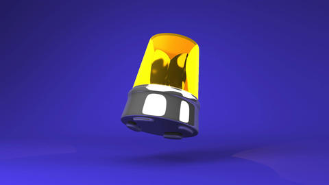 Jumping Yellow Warning Light On Blue Background CG動画