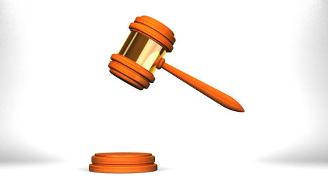 Wooden Judge Gavel On White Background CG動画