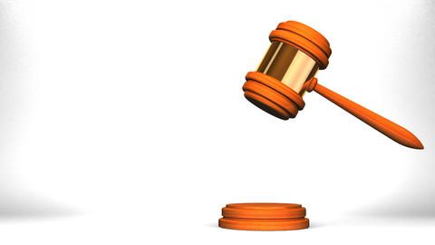 Wooden Judge Gavel On White Text Space CG動画