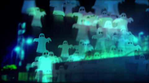 The ghosts floating over the night factory Animación
