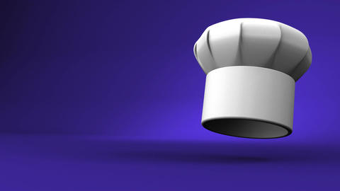 Chef's Hat With Three Stars On Blue Text Space Animation