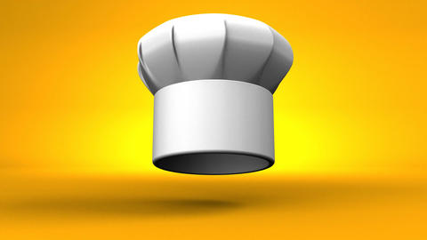 Chef's Hat With Three Stars On Yellow Background CG動画