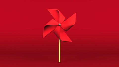 Red Pinwheel On Red Background Animation