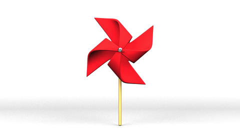 Red Pinwheel On White Background CG動画