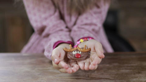 Christmas homemade cookie in child's hands Footage