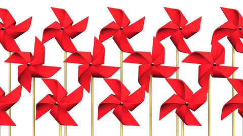 Red Pinwheels On White Background CG動画
