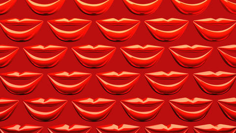 Many Red Kissing Lips On Red Background Animation