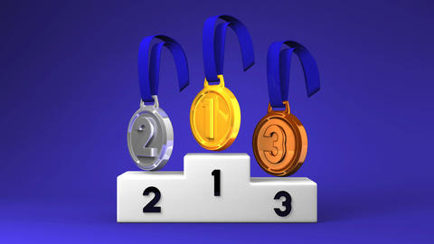 Medals And Podium On Blue Background Animation