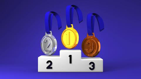 Medals And Podium On Blue Background 動画素材, ムービー映像素材
