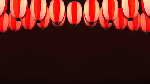 Red White Paper Lantern On Red Background CG動画