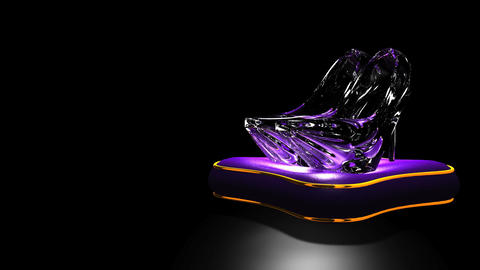 Shining Glass Slippers On Black Text Space Animation
