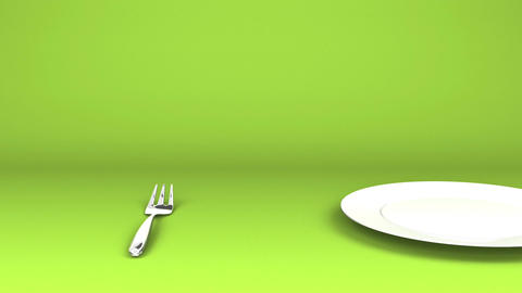 Cutlery And Dish On Green Text Space CG動画
