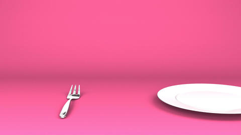 Cutlery And Dish On Pink Text Space CG動画