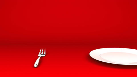 Cutlery And Dish On Red Text Space CG動画