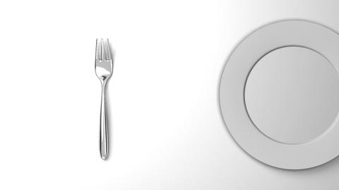 Top View Of Cutlery And Dish On White Background CG動画
