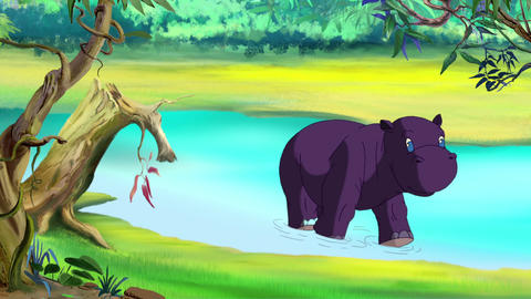 Little violet hippo emerges from river Animation