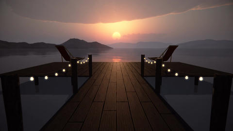 Perspective view of a wooden pier on the pond at sunset Animation