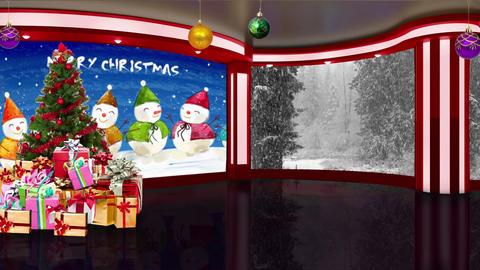 Christmas TV Studio Set 16- Virtual Background Loop ライブ動画