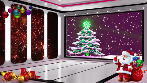 Christmas TV Studio Set 19- Virtual Background Loop ライブ動画