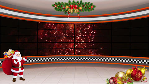 Christmas TV Studio Set 20- Virtual Background Loop ライブ動画