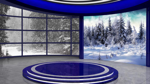 Christmas TV Studio Set 23- Virtual Background Loop ライブ動画