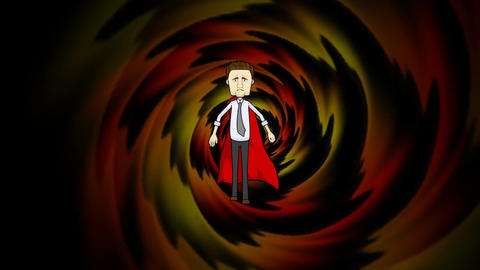 Businessman Running in Cape with Tunnel Background. (Looping) Animation