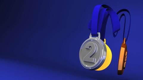 Rotating 3Medals On Blue Text Space Animation