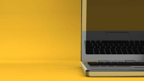 Closeup Of Laptop On Yellow Text Space CG動画