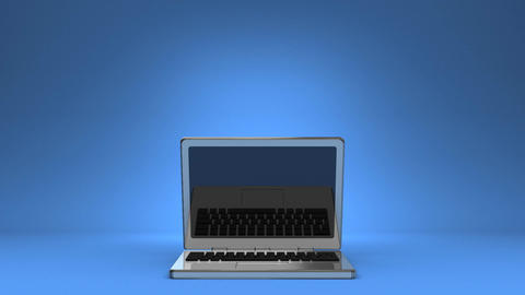 Front View Of Laptop On Blue Text Space CG動画