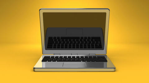 Front View Of Laptop On Yellow Background Animation