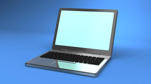 Laptop On Blue Background CG動画