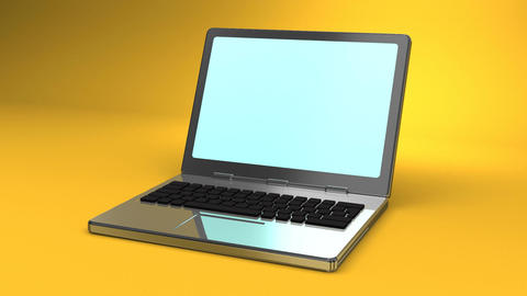 Laptop On Yellow Background CG動画