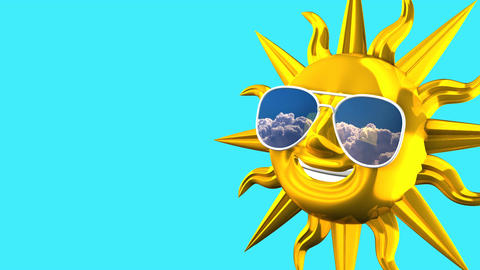Golden Smiling Sun With Sunglasses On Blue Text Space 애니메이션