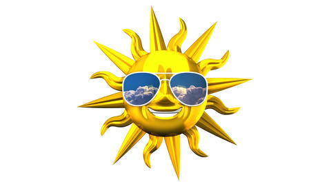 Golden Smiling Sun With Sunglasses On White Background CG動画